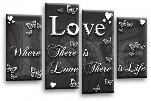 Love Quote Wall Art Print Grey White Family Picture